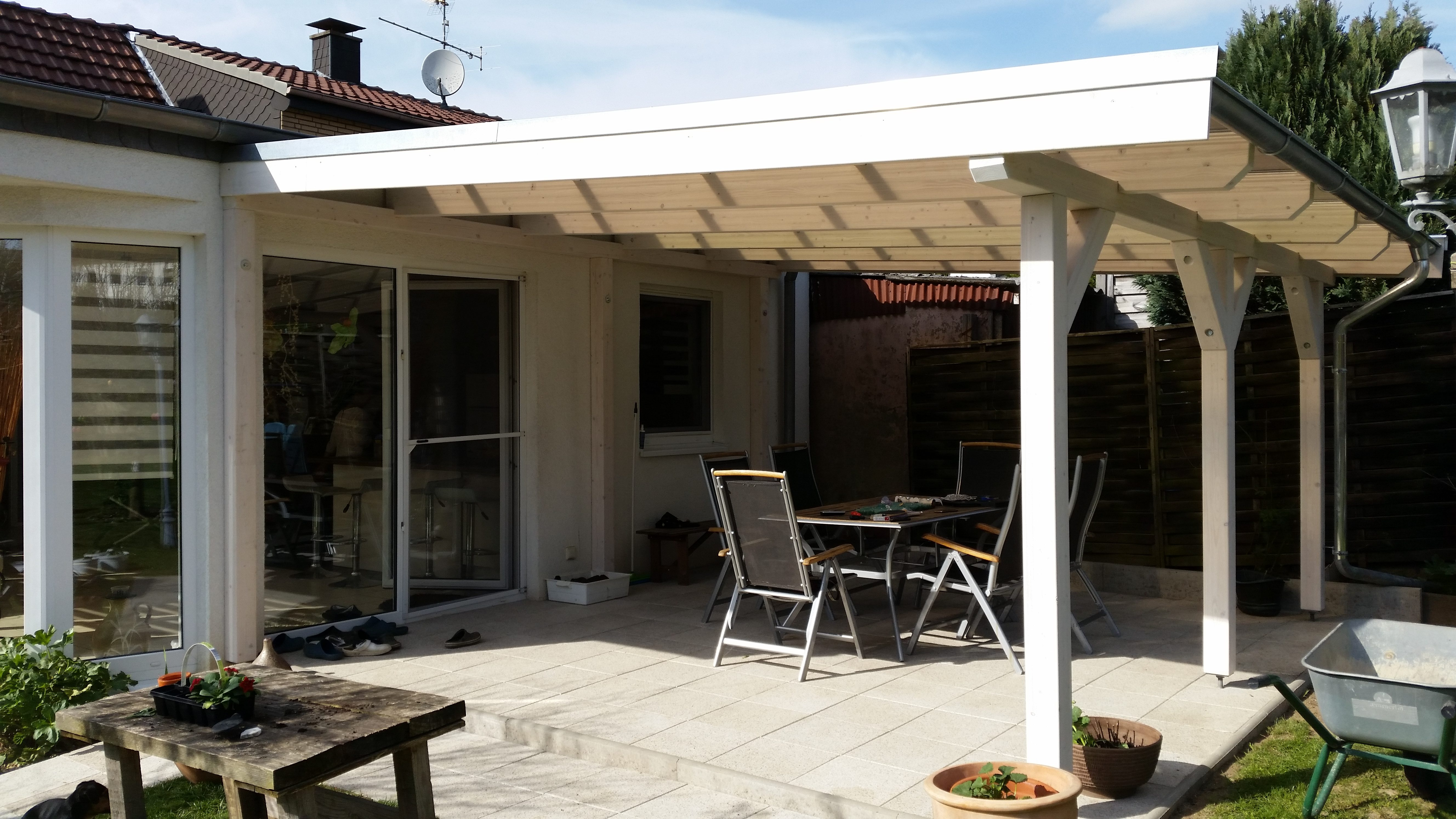 Terrassenüberdachung, Holz, Verbundglas