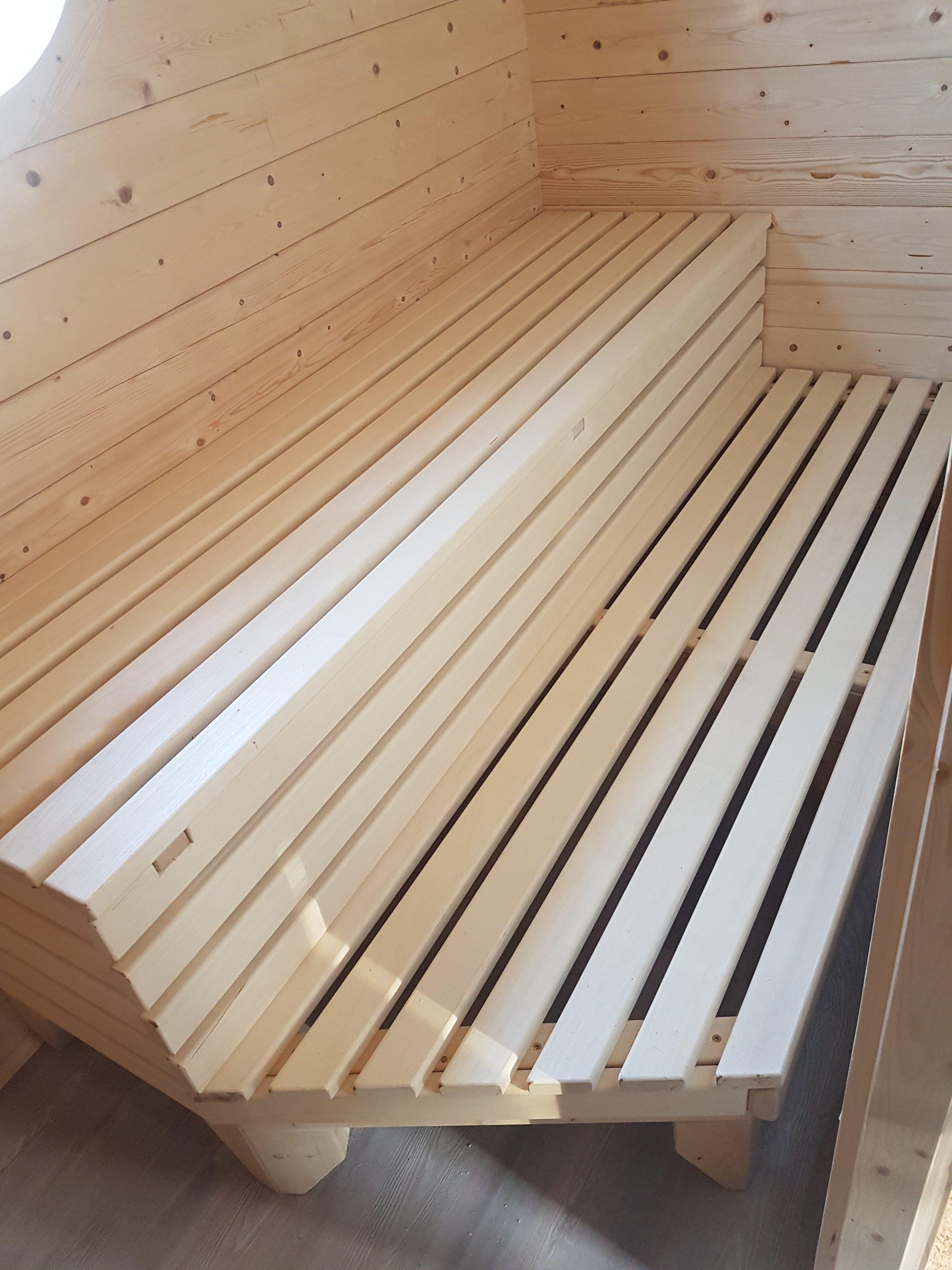Sauna, Detail, Sitzflächen, Liegeflächen