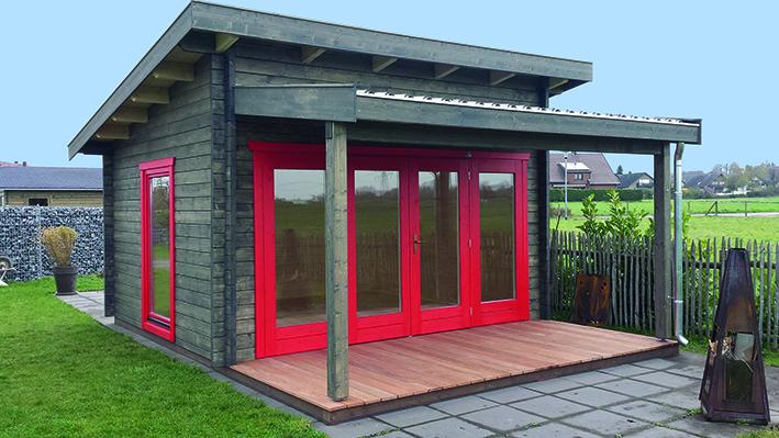 Gartenhaus, Pultdach, Doppeltür, überdachte Terrasse