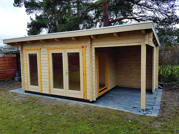 Gartenhaus, Pultdach, Doppeltür, Dachverlängerung