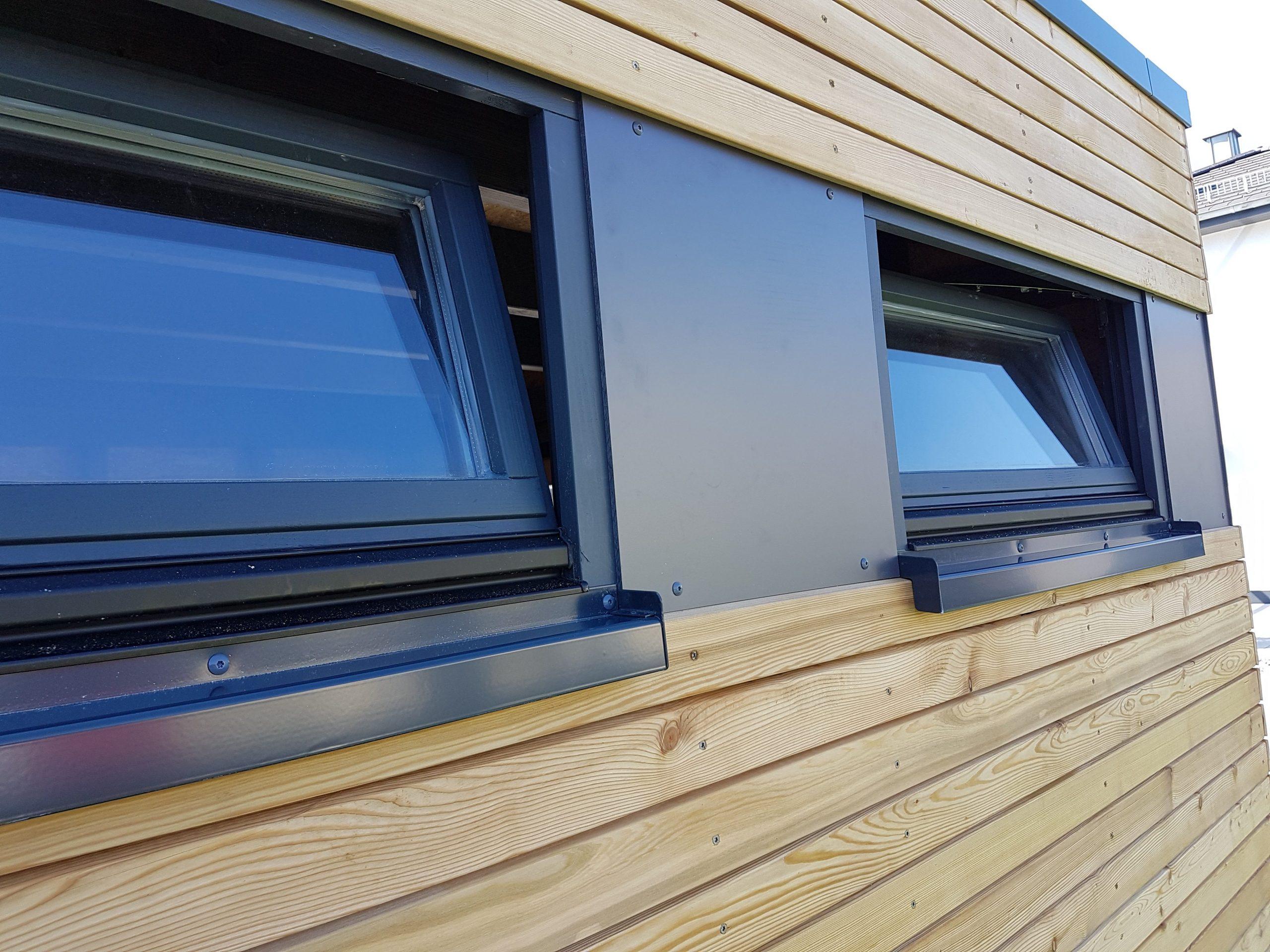 Gartenhaus, Blockcube, Detail, Fenster