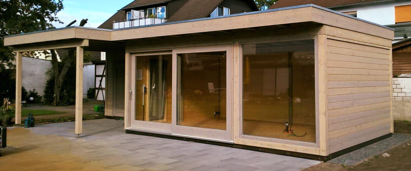 Gartenhaus, Blockcube, Holz, Hebe-Schiebe-Elemente