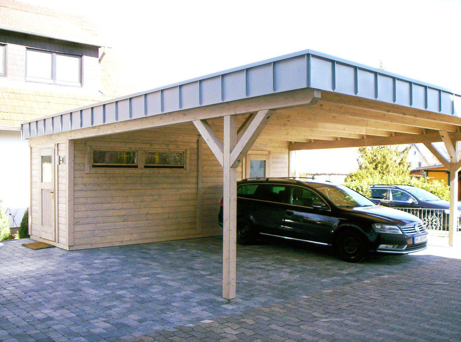Doppel-Carport, Abstellraum, Flachdach