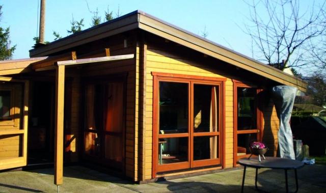 Ferienhaus, Pultdach, Dachverlängerung