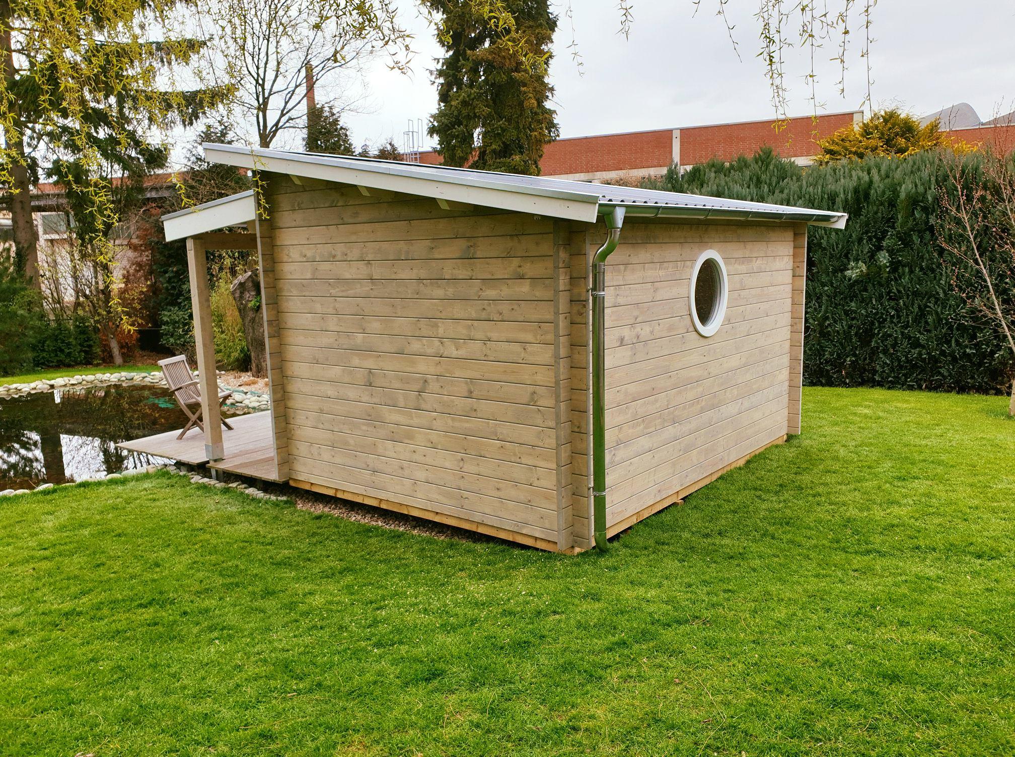 Gartenhaus, Pultdach, Terrasse, Bullauge