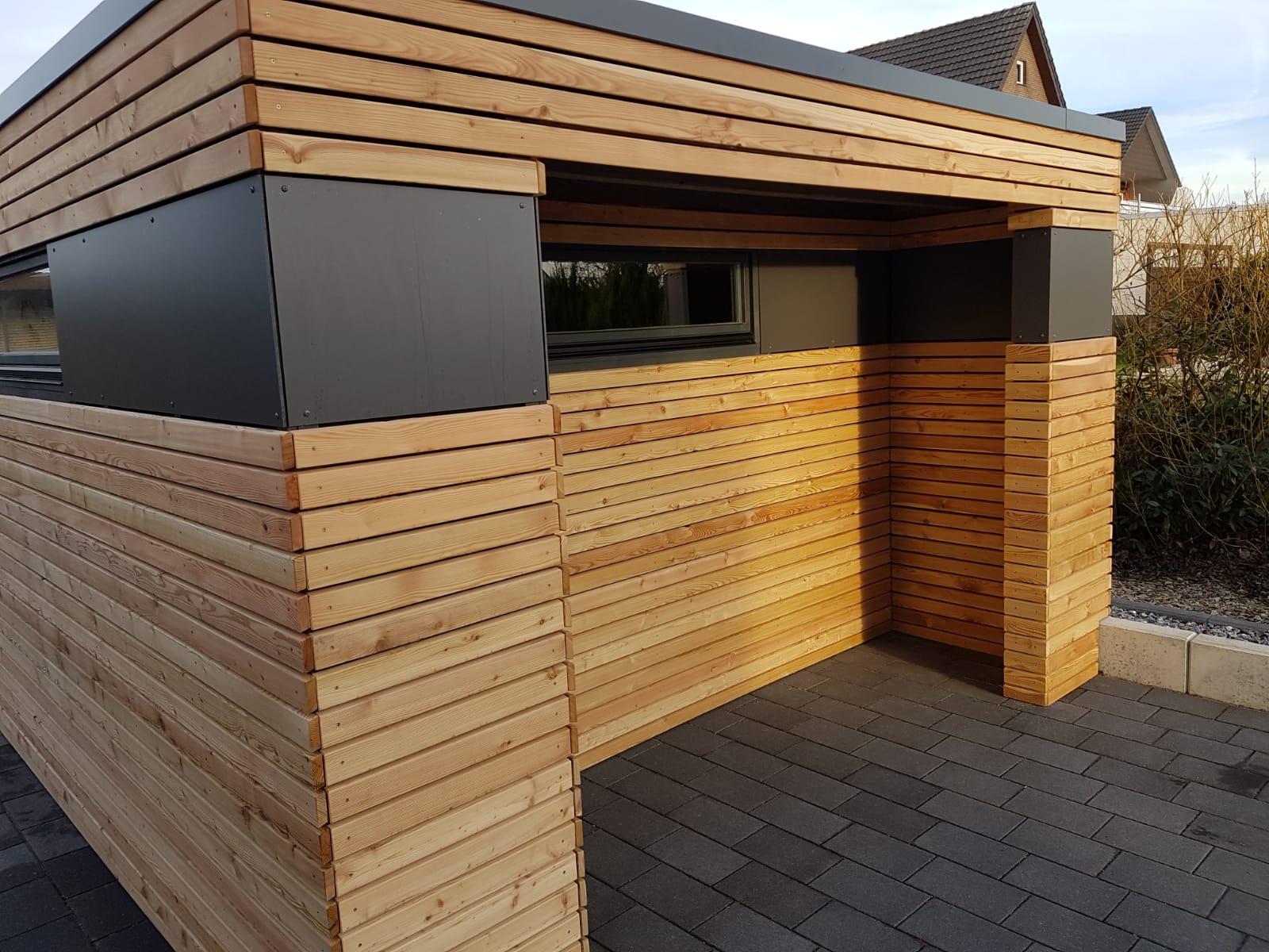 Gartenhaus, Blockcube, Detail, Holz + Aluelemente