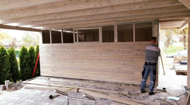 Holz, Doppel-Carport, Montage