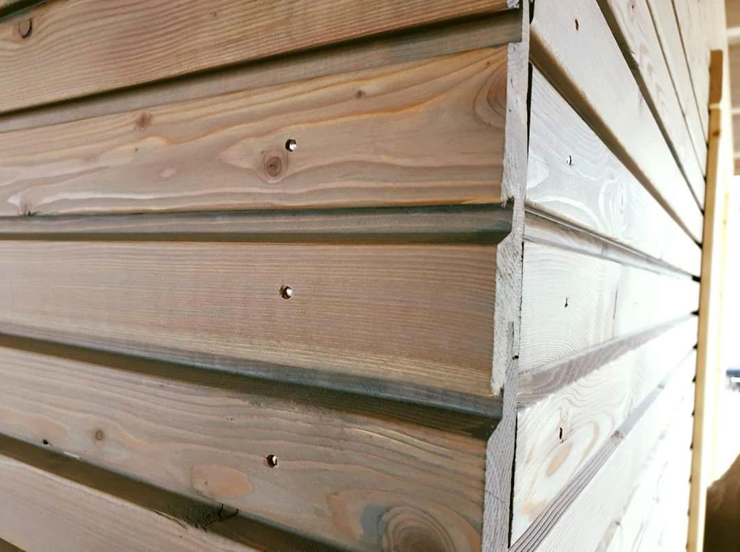 Holz, Doppel-Carport, Wandverkleidung, Lärche, Rhombusbretter, Montage