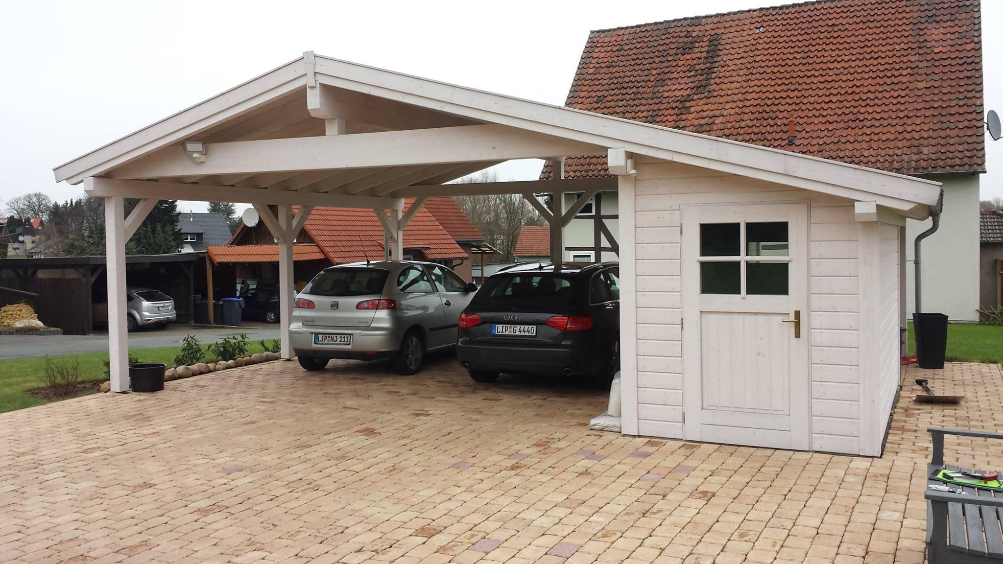 Doppel-Carport, Satteldach, Abstellraum