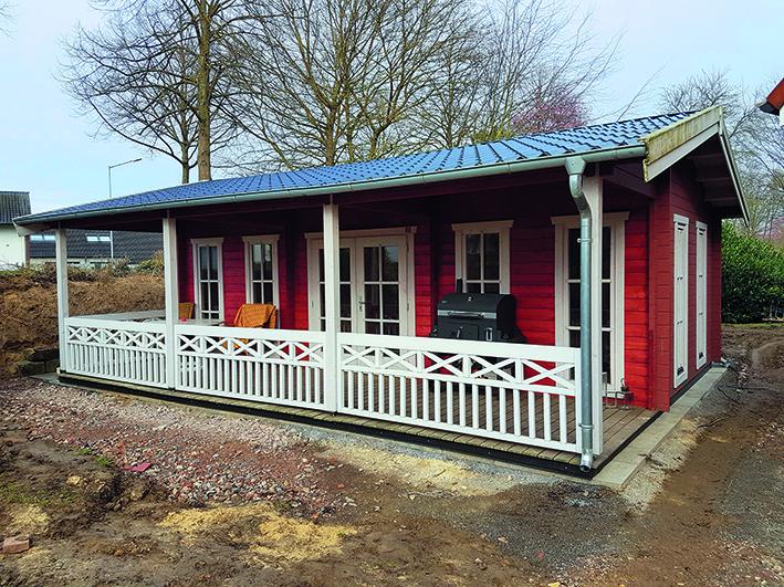 Gartenhaus, überdachter Terrasse, Geländer