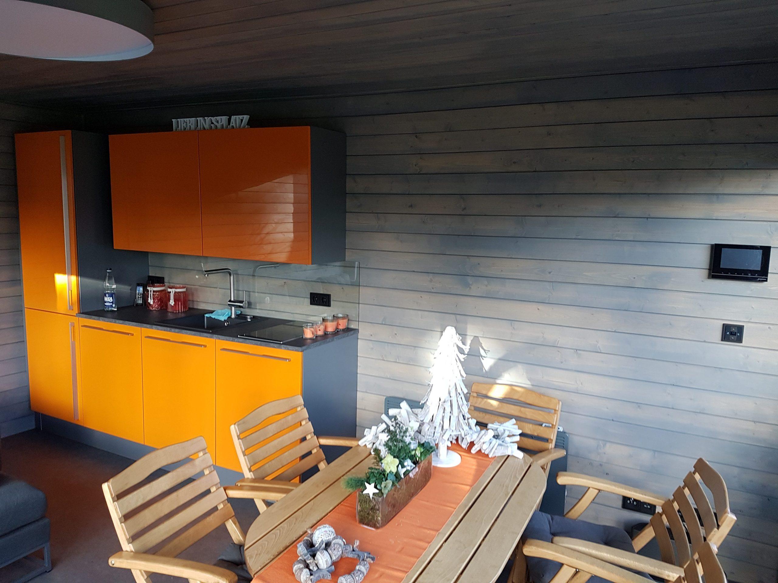 Gartenhaus, Blockcube, Detail, Innenansicht