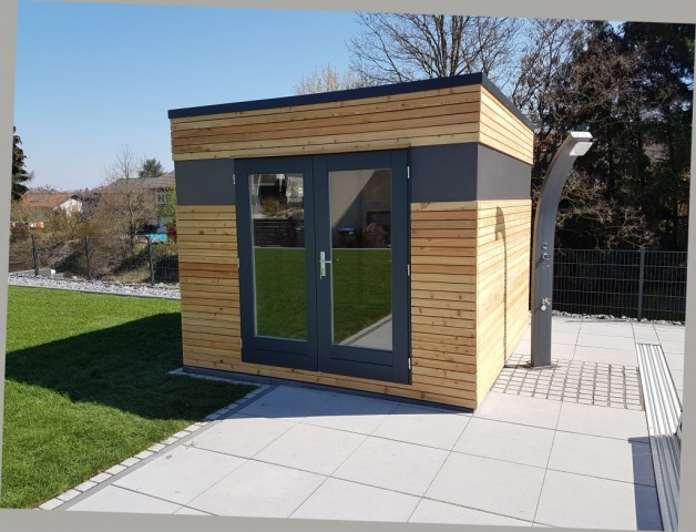 Gartenhaus, Blockcube, Holz + Alublech