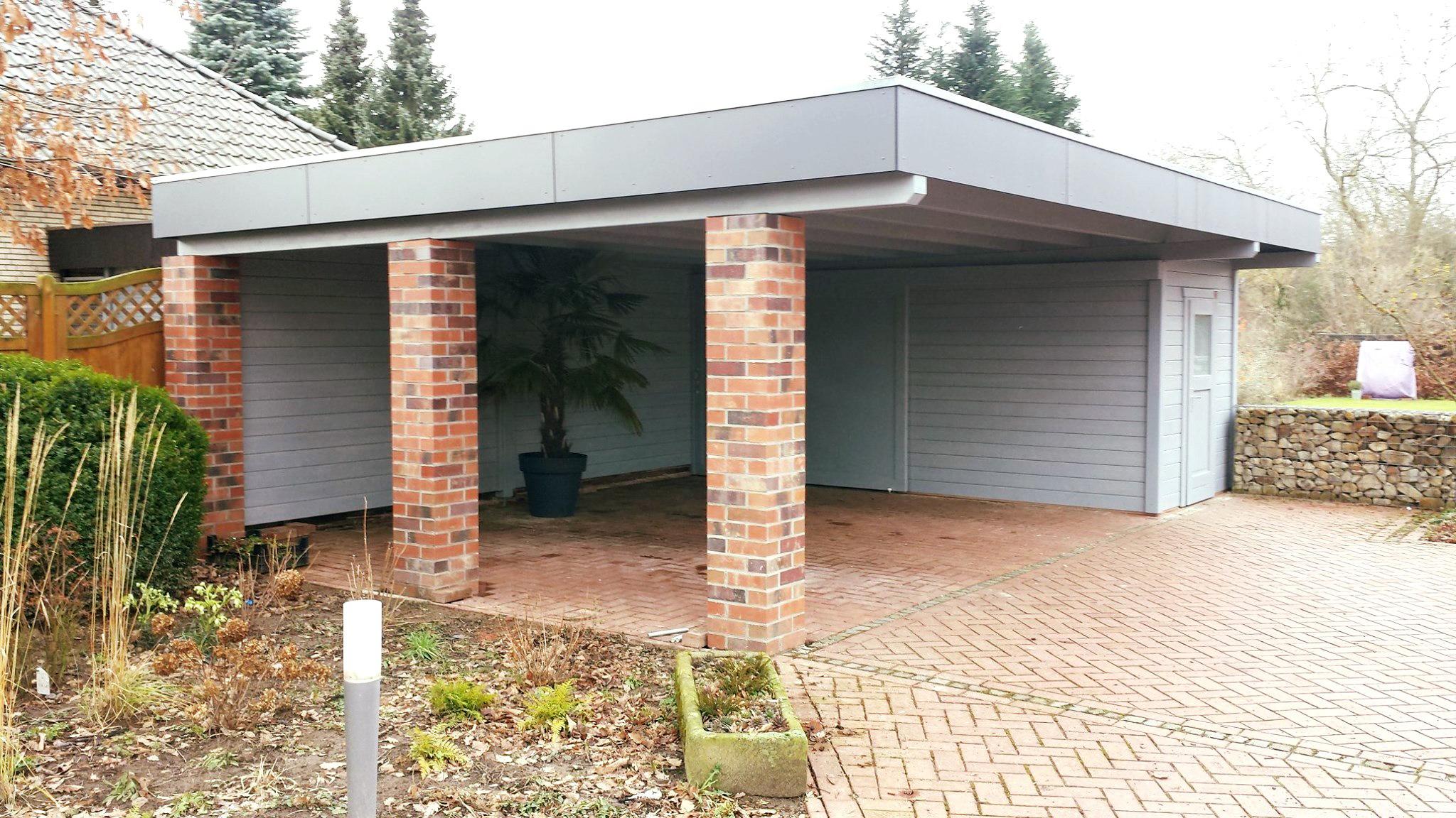 Doppel-Carport, Abstellraum, Trespa