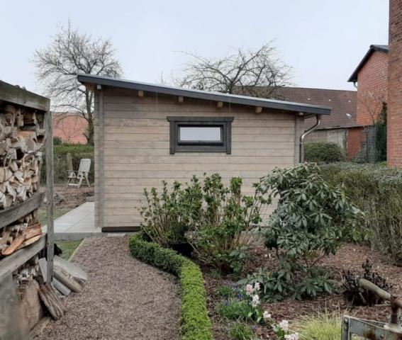 Gartenhaus, Pultdach, Doppeltür, Seitenansicht