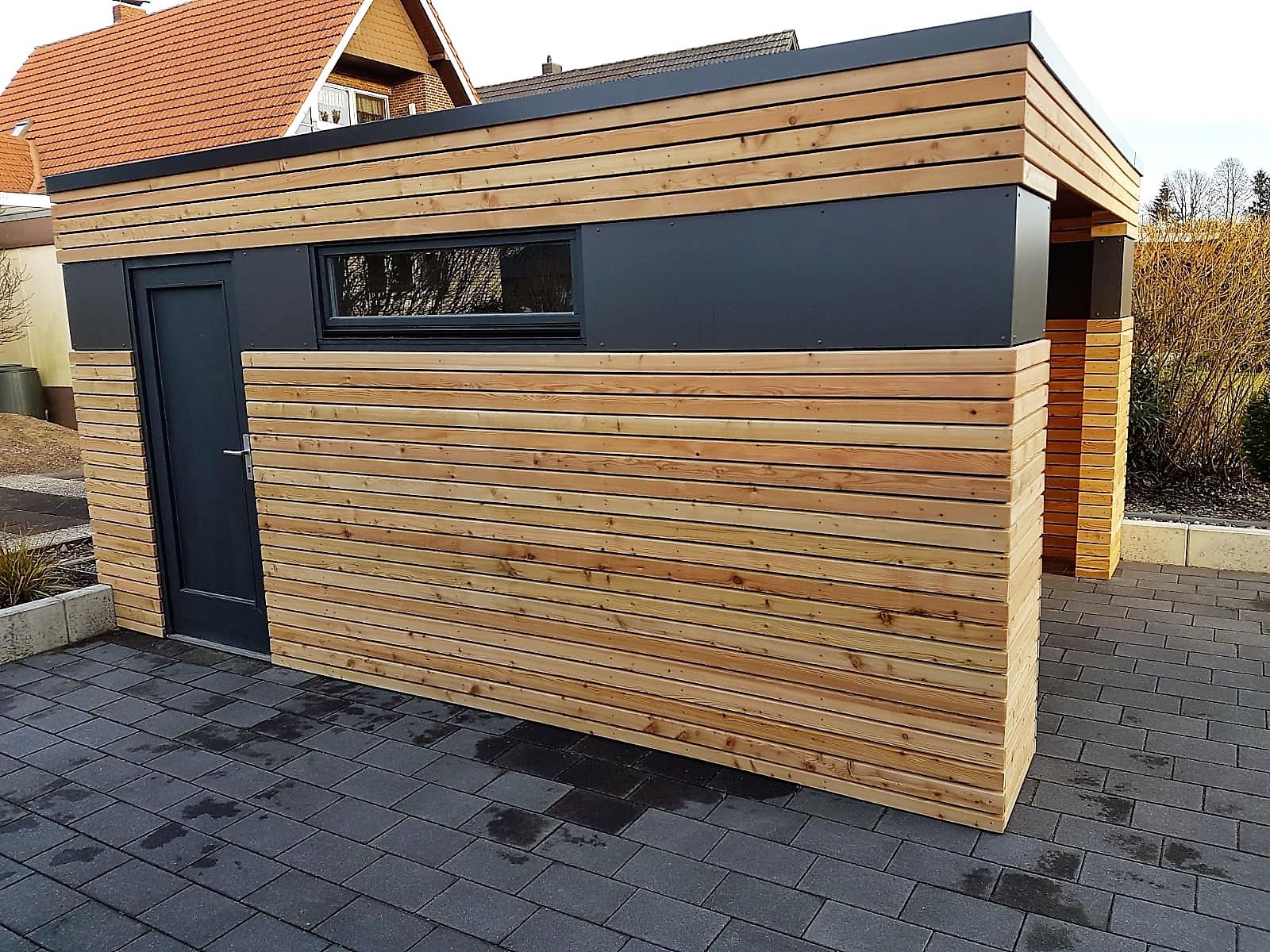 Gartenhaus, Blockcube, Detail, Hebe-Schiebe-Elemente